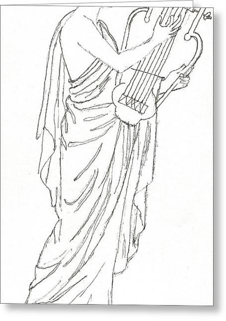 Pen And Ink Drawing Paintings Greeting Cards - Erato  Muse of Love Greeting Card by Maria Hunt
