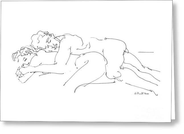 Spooning Greeting Cards - Erotic Art Drawings 2 Greeting Card by Gordon Punt