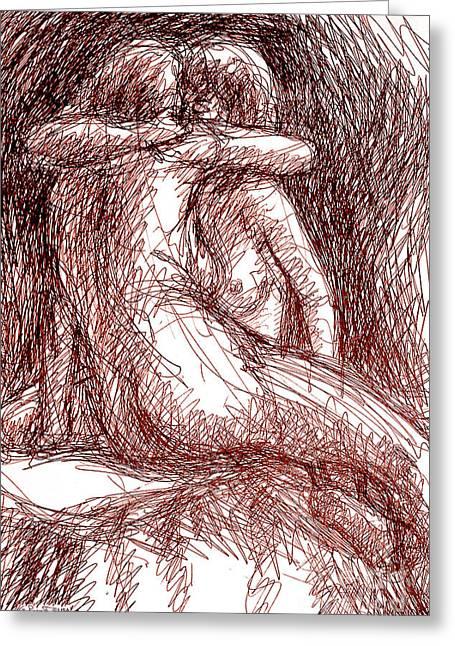 Sex Drawings Greeting Cards - Erotic Drawings 19-2 Greeting Card by Gordon Punt