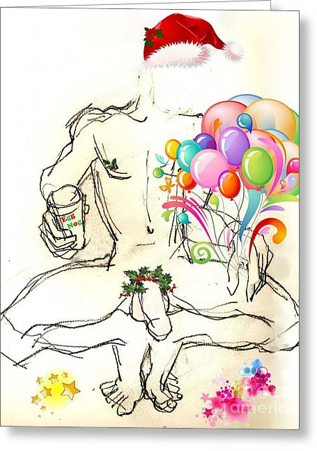 Homoerotic Mixed Media Greeting Cards - Erotic Holiday Cards - Morning Eggnog Greeting Card by Carolyn Weltman