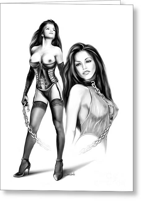 Spano Greeting Cards - Erotic Lesbian Pet by Spano Greeting Card by Michael Spano