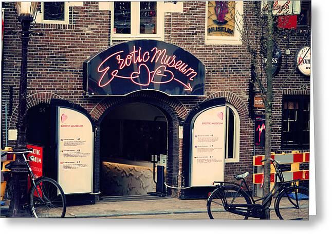 Bike Trip Greeting Cards - Erotic Museum. Amsterdam Greeting Card by Jenny Rainbow