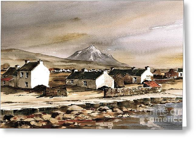 Val Byrne Greeting Cards - Errigal from Gola Island Donegal Greeting Card by Val Byrne