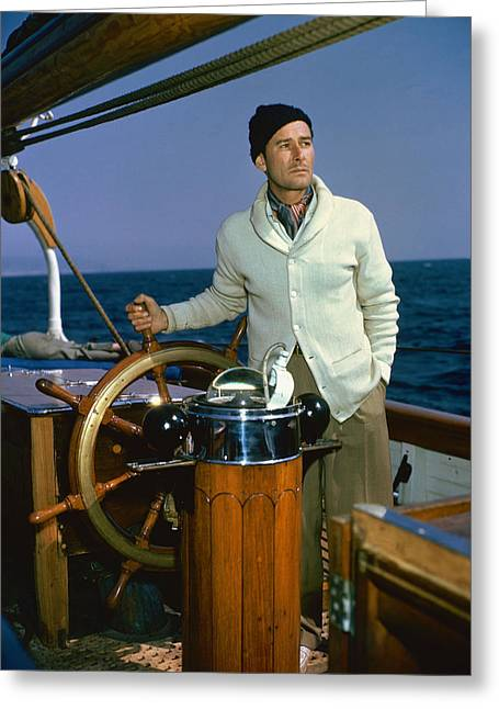 Cruising Photographs Greeting Cards - Errol Flynn in Cruise of the Zaca  Greeting Card by Silver Screen