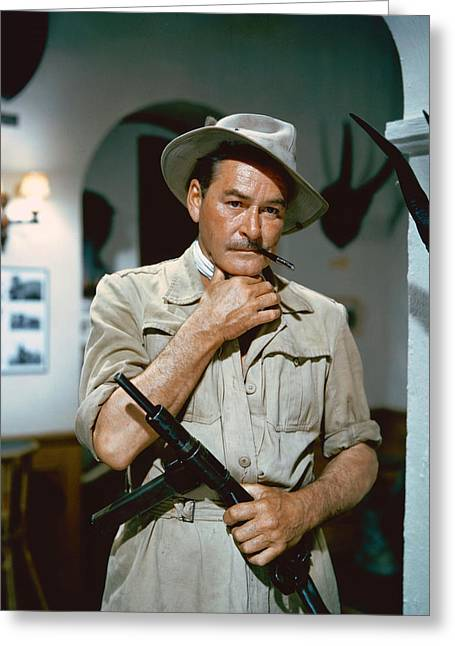 Flynn Greeting Cards - Errol Flynn in The Roots of Heaven Greeting Card by Silver Screen