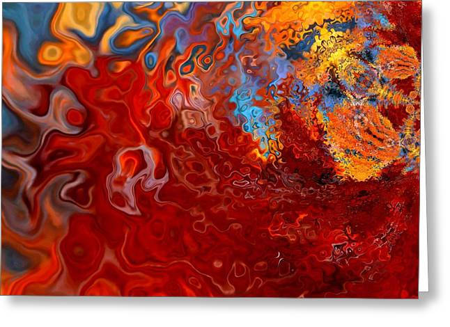 Modern Abstract Digital Art Digital Art Greeting Cards - Eruption Greeting Card by Deena Stoddard