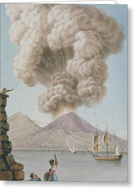 Italian Landscapes Drawings Greeting Cards - Eruption Of Vesuvius, Monday 9th August Greeting Card by Pietro Fabris