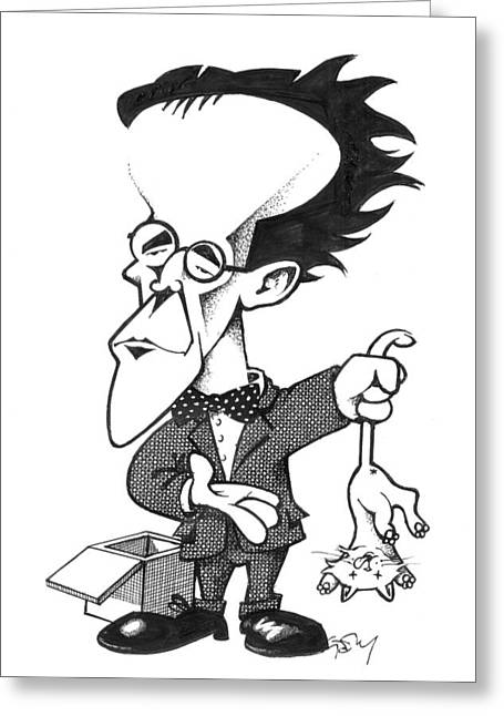 Quantum Mechanics Greeting Cards - Erwin Schrodinger, caricature Greeting Card by Science Photo Library