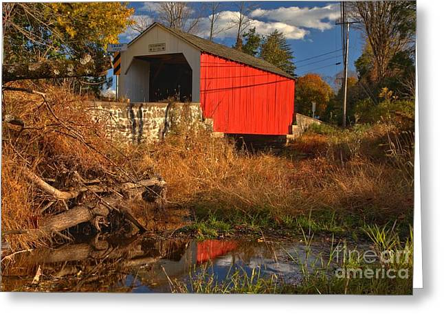 Wite Greeting Cards - Erwinna Covered Bridge Reflections Greeting Card by Adam Jewell