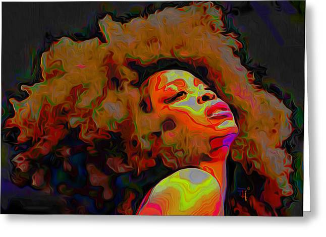 Featured Art Greeting Cards - Erykah Badu Greeting Card by  Fli Art
