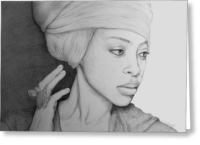 African-american Drawings Greeting Cards - Erykah Badu Graphite On Museum Panel Greeting Card by Tim Fogarty