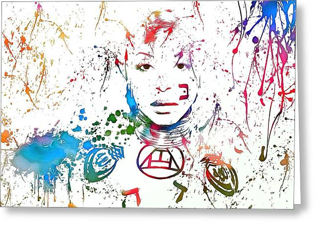 Rhythm And Blues Mixed Media Greeting Cards - Erykah Badu Paint Splatter Greeting Card by Dan Sproul
