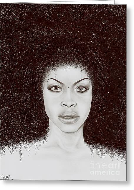 Wave Art Drawings Greeting Cards - Erykah Greeting Card by Wave