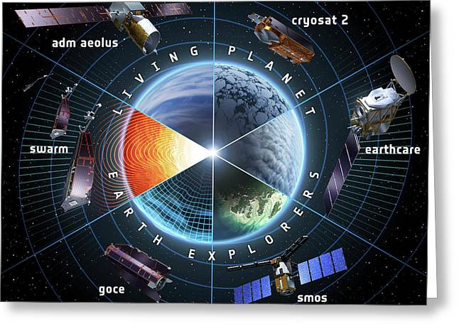 Esa Earth Explorer Satellites Greeting Card by European Space Agency