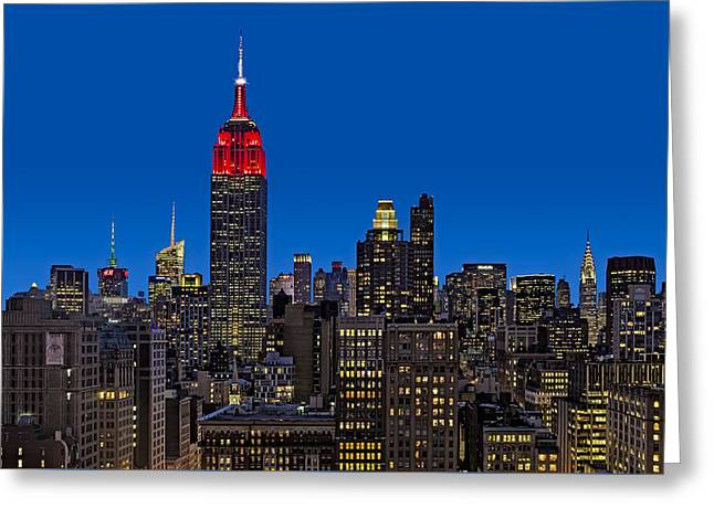 Esb Surrounded By The Flatiron District Greeting Card by Susan Candelario