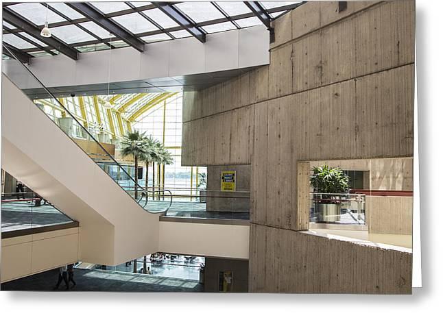Renaissance Center Greeting Cards - Escalator in Renaissance Center Greeting Card by John McGraw
