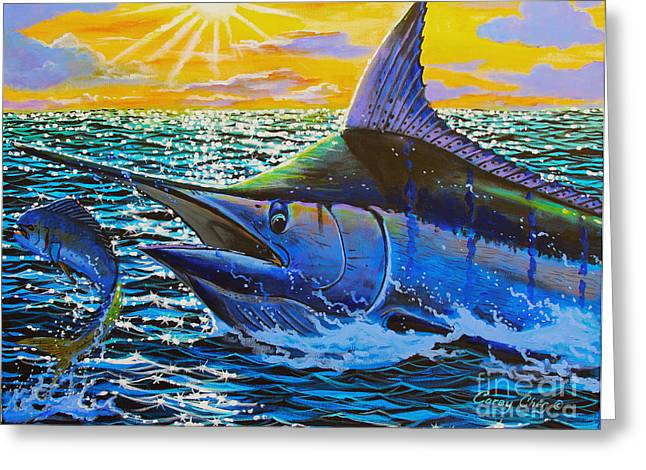 Striped Marlin Greeting Cards - Escape Greeting Card by Carey Chen