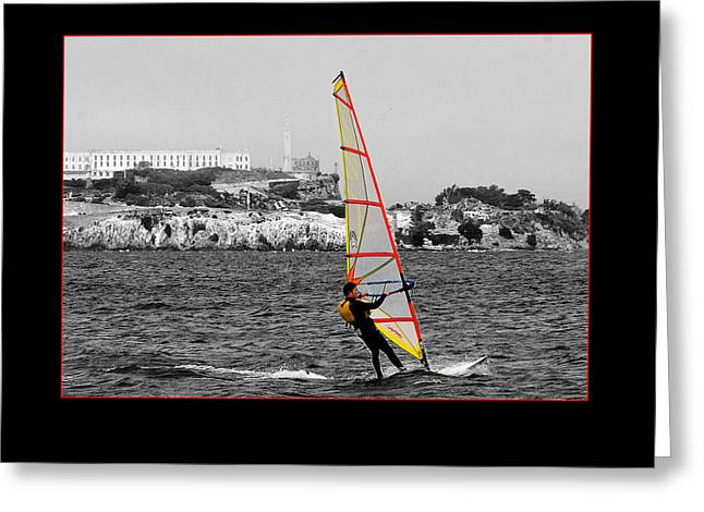 Sailboarding Greeting Cards - Escape from Alcatraz Greeting Card by Larry Johnson