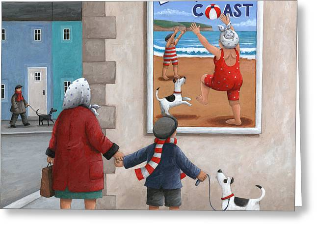 Dog Posters Greeting Cards - Escape to the Coast 2 Greeting Card by Peter Adderley