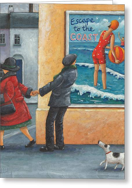 Dog Posters Greeting Cards - Escape To The Coast Greeting Card by Peter Adderley