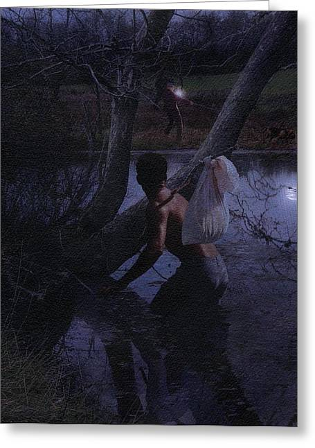 Oppression Greeting Cards - Escaped Slave in River Greeting Card by Matthew Frey