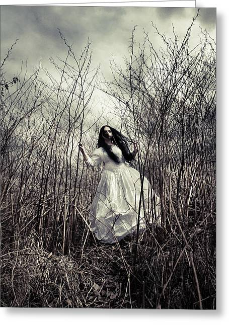 Bridal Gown Greeting Cards - Escaping Bride Greeting Card by Wojciech Zwolinski