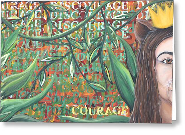 Courage Paintings Greeting Cards - Escaping my jungle of despair Greeting Card by Meganne Peck