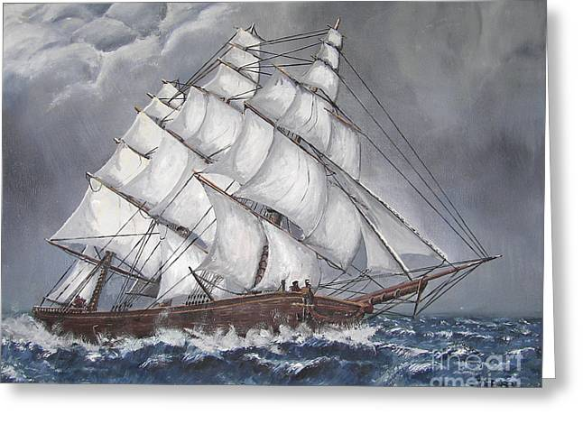 Recently Sold -  - Pirate Ships Greeting Cards - Escaping the Storm Greeting Card by Deborah Strategier