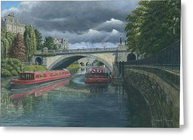 Pulteney Bridge Greeting Cards - Escaping the Storm North Parade Bridge Bath Greeting Card by Richard Harpum