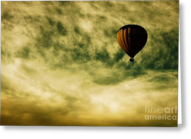 """hot Air Balloon"" Greeting Cards - Escapism Greeting Card by Andrew Paranavitana"