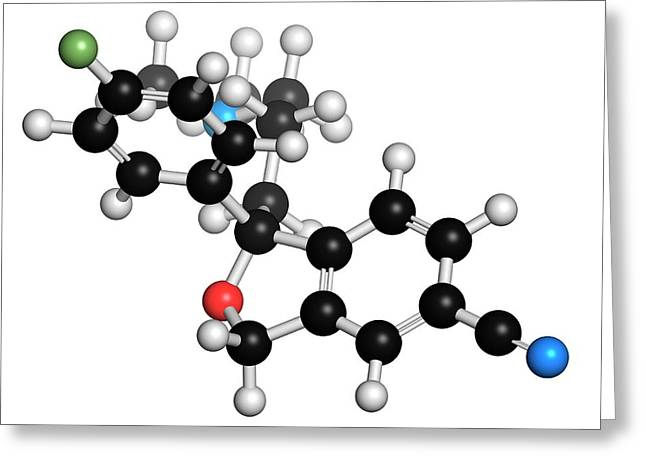 Escitalopram Antidepressant Drug Molecule Greeting Card by Molekuul