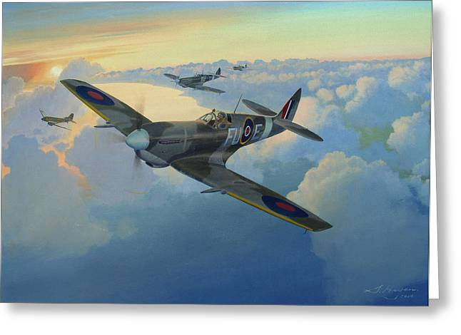 Spitfire Greeting Cards - Escort Duty Greeting Card by Steven Heyen