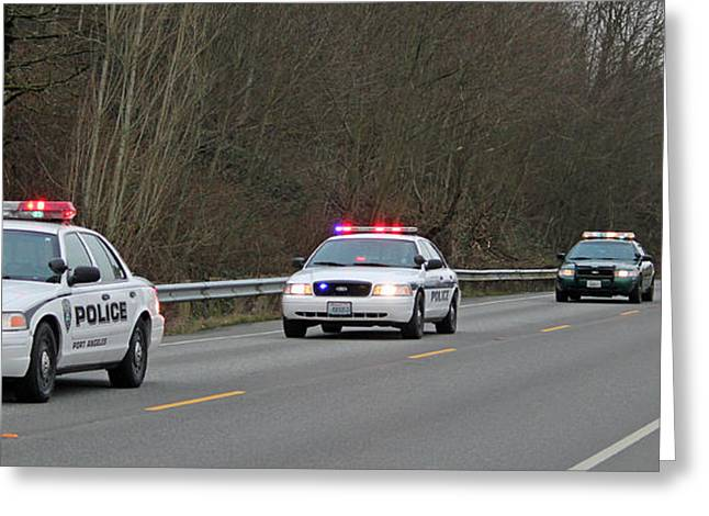 Police Cruiser Greeting Cards - Escort for a Fallen Comrade Greeting Card by E Faithe Lester