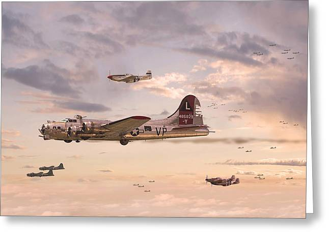 Military Airplane Greeting Cards - Escort Service Greeting Card by Pat Speirs