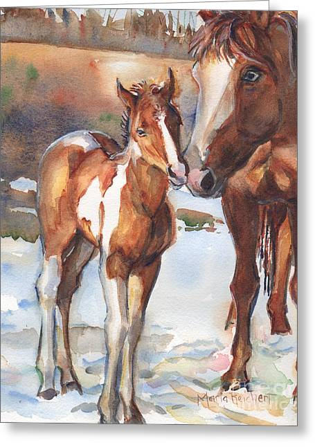 Quarter Horses Paintings Greeting Cards - horse painting in watercolor Eskimo Kisses Greeting Card by Maria