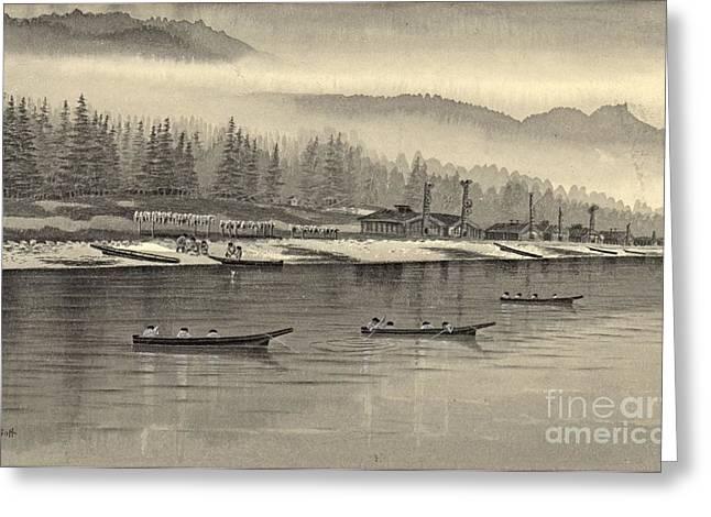 Eskimos Halibut Fishing Alaska 1874 Greeting Card by Padre Art