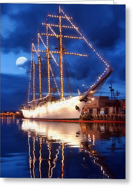 Tall Ships Greeting Cards - Esmerelda Moon Greeting Card by Peter Chilelli