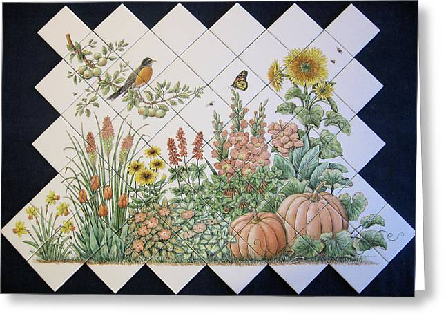 Canna Ceramics Greeting Cards - Espinosas Flower Garden Tile Mural Greeting Card by Julia Sweda