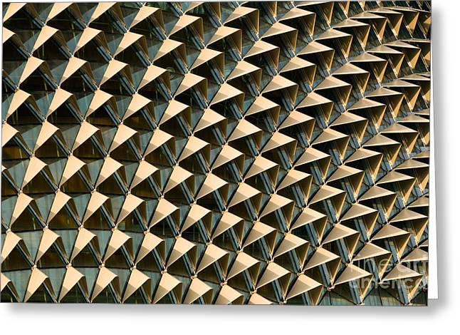 Geometric Design Greeting Cards - Esplanade Theatres Roof 12 Greeting Card by Rick Piper Photography