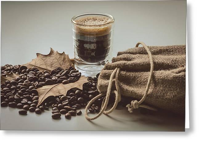 Grain Sacks Greeting Cards - Espresso Coffee II Greeting Card by Marco Oliveira