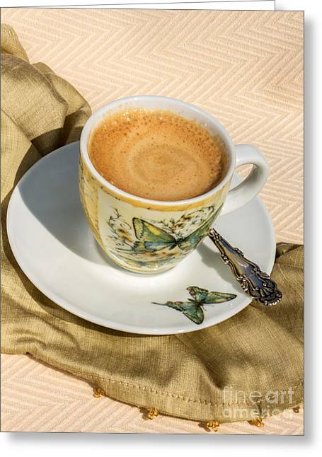 Owner Greeting Cards - Espresso in Butterfly Cup Greeting Card by Iris Richardson