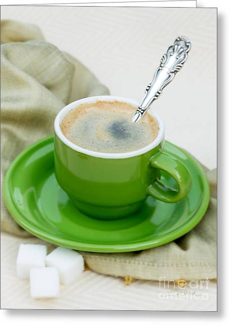 Espresso Prints Greeting Cards - Espresso in Green Greeting Card by Iris Richardson