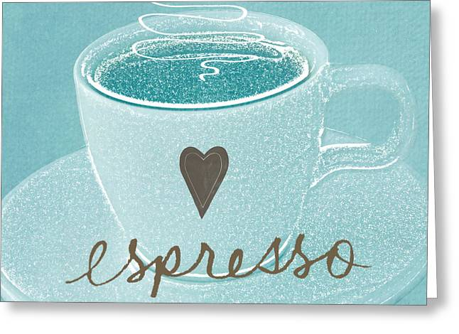 Espresso Art Greeting Cards - Espresso Love in light blue Greeting Card by Linda Woods