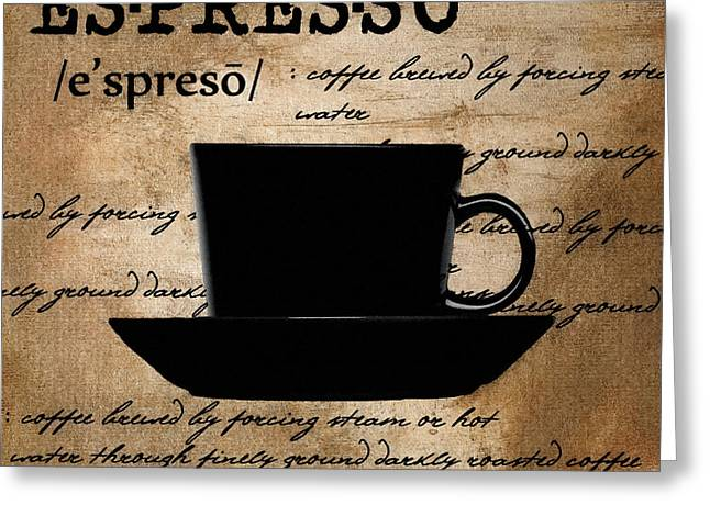 Downtown Cafe Greeting Cards - Espresso Madness Greeting Card by Lourry Legarde