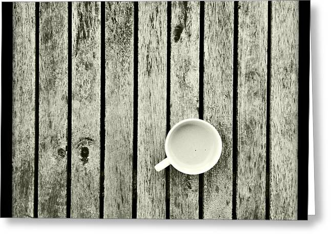 Espresso Prints Greeting Cards - Espresso On A Wooden Table Greeting Card by Marco Oliveira