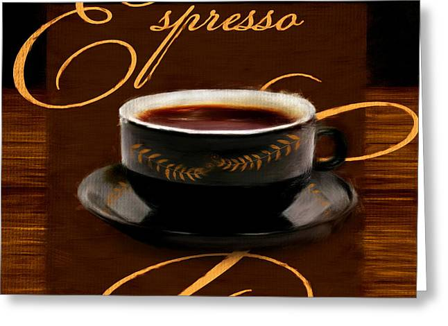 Downtown Cafe Greeting Cards - Espresso Passion Greeting Card by Lourry Legarde
