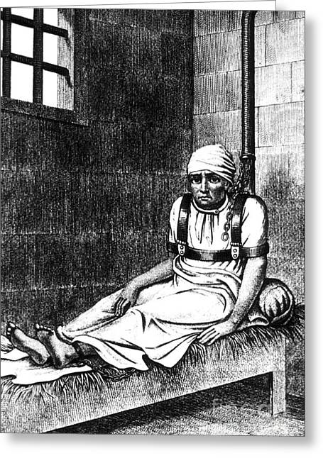 Mental Institution Greeting Cards - Esquirol Patient, Shackled Patient, 1838 Greeting Card by Science Source