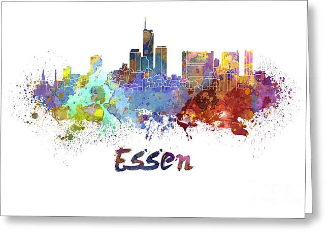 Essen Greeting Cards - Essen skyline in watercolor Greeting Card by Pablo Romero