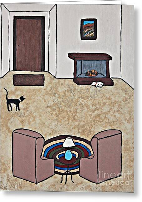 White Ceramics Greeting Cards - Essence of Home - Black and White Cat in Living Room Greeting Card by Sheryl Young