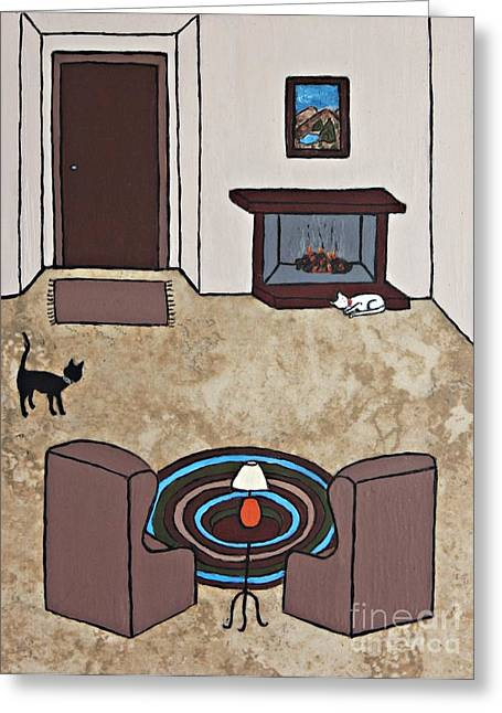 White Ceramics Greeting Cards - Essence of Home - Cat by Fireplace Greeting Card by Sheryl Young